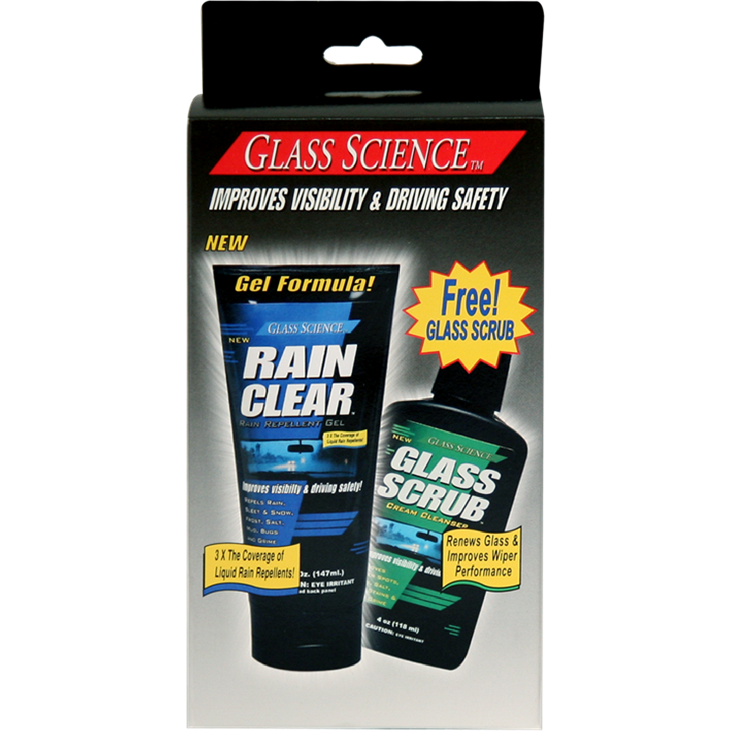 GLASS SCIENCE RAIN CLEAR AND GLASS SCRUB PKT